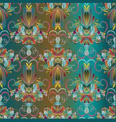 vintage floral seamless pattern blue background vector image vector image