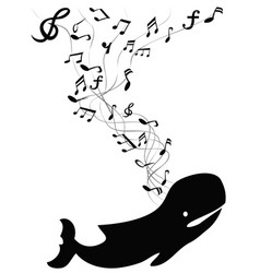 Whale sings with music note vector