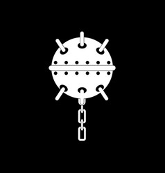 White icon on black background military naval mine vector