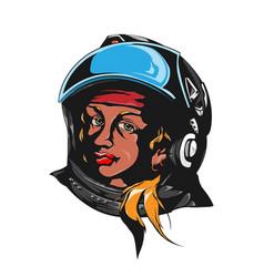 woman astronaut portrait vector image vector image
