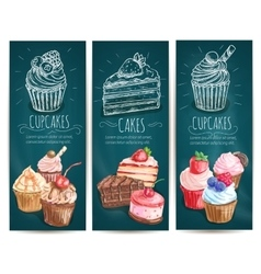 Cupcakes cakes pastries desserts banners vector