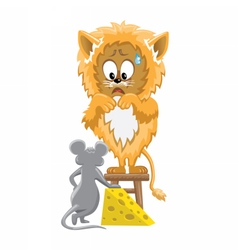Lion and mouse with cheese vector