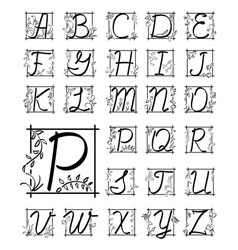 English floral alphabet - black letters in vector