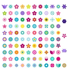 Set of colorful flower icons vector