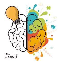 Mind human brain bulb idea analytic creativity vector