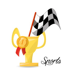 Nice trophy with medal and flag sport competition vector
