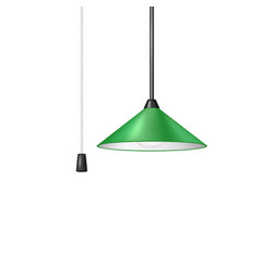 Retro hanging lamp in green design vector