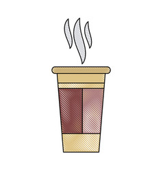 Paper coffee cup portable fresh aroma break vector