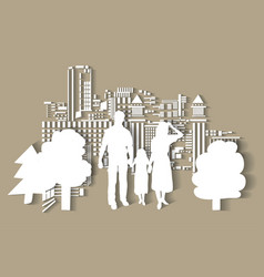 Silhouette city people family flat vector
