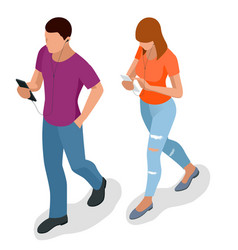Isometric business man and woman with phone young vector