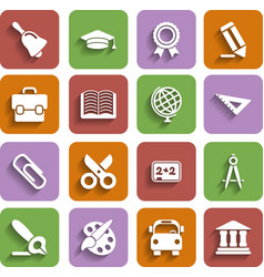 Flat school icons set with shadow vector