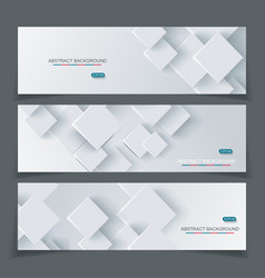 Banner set with abstract geometric paper vector