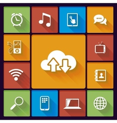 Cloud social media icons vector