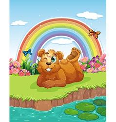 A bear at the riverbank vector image