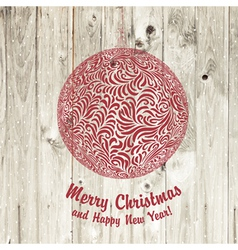 Christmas ball on wooden vector