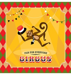 Vintage circus card with a monkey vector