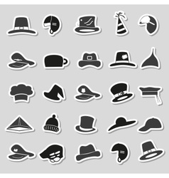 Various black and gray hats stickers set eps10 vector