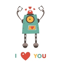 Colorful robot in love character vector