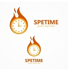 Logo or icon clock in a fire vector