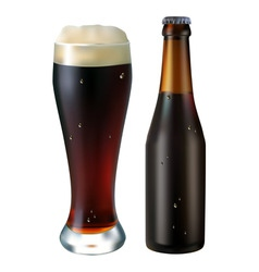 Glass and bottle of dark beer on a white backgroun vector