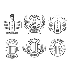 Line logo templates for beer house and craft vector