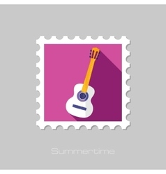 Guitar Beach flat stamp with long shadow vector image