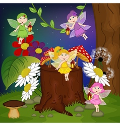 fairies in forest vector image