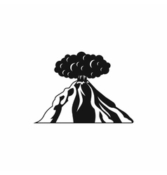 Volcano erupting icon simple style vector
