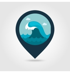Ocean wave pin map icon summer vacation vector
