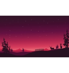At night christmas scenery of silhouette vector