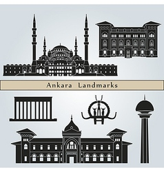 Ankara landmarks and monuments vector