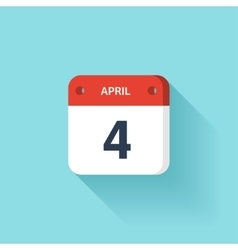 April 4 Isometric Calendar Icon With Shadow vector image vector image