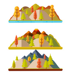 Autumn nature landscapes hills and mountains vector