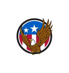 Bald Eagle Spread Wings USA Flag Circle Retro vector image vector image