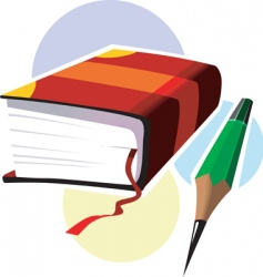 book and pencil vector image
