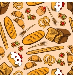 Bread and sweet pasty seamless pattern vector image