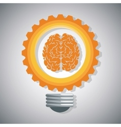 Bulb gear brain and big idea design vector