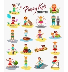 Children playing isolated cartoon kids vector