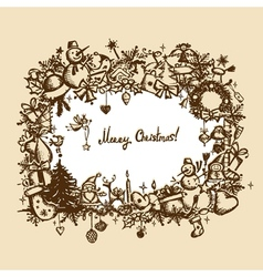 Christmas frame sketch drawing for your design vector image vector image
