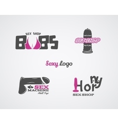 Collection of cute sex shop logo and badge design vector