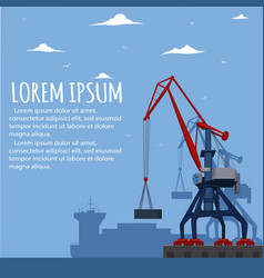 Commercial seaport banner with port crane vector