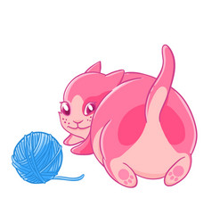 cute pink kitten plays with a ball of wool vector image