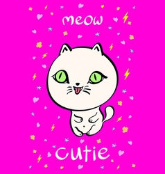 Cutie cat for t-shirt or other usesin vector