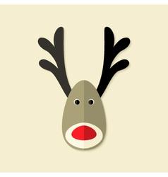 Deer Christmas Flat Icon vector image