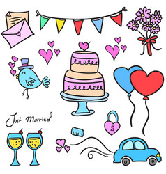 Doodle of wedding element colorful vector
