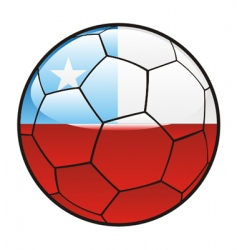 flag of Chile on soccer ball vector image vector image