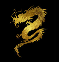 Golden foil paper cut out of a dragon china vector