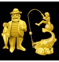 Golden statue of a fisherman with catch vector image