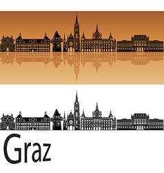 Graz skyline in orange vector