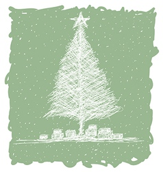 hand drawn of christmas tree with snow flakes in vector image